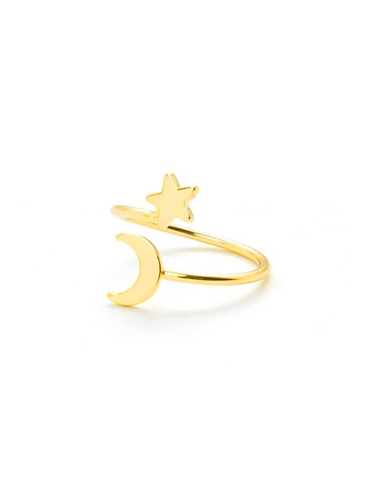 Moon & Star Design Ring