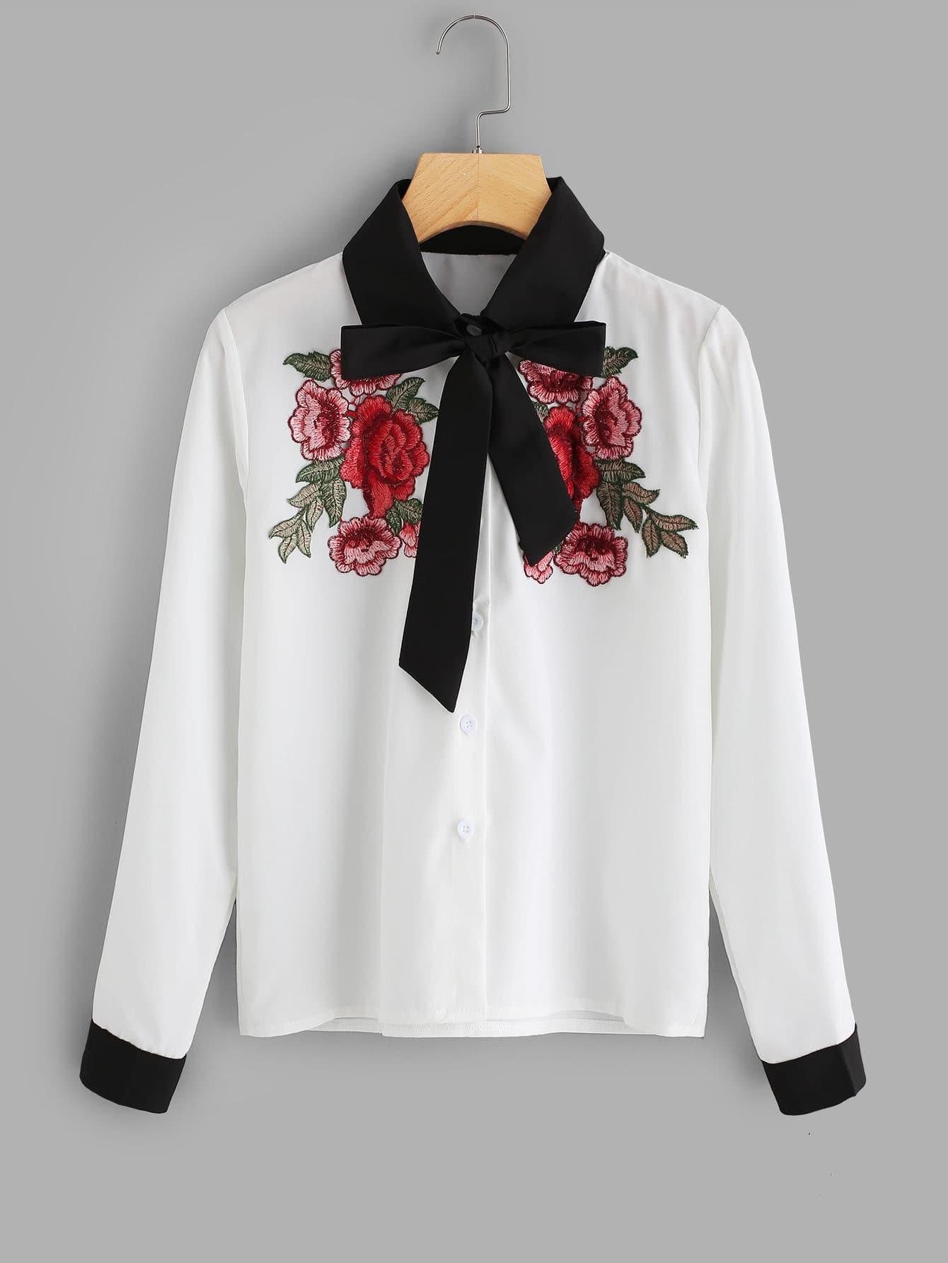 Contrast Trim Tie Neck Embroidered Applique Shirt