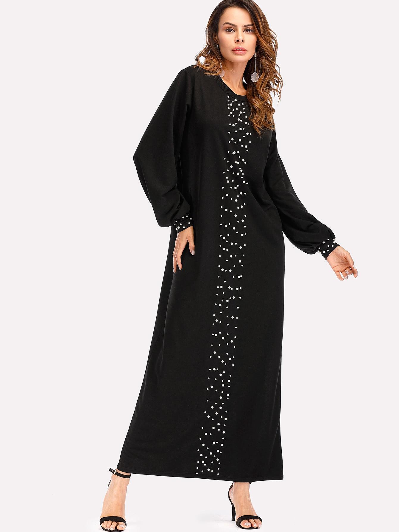 Pearl Beading Full Length Dress