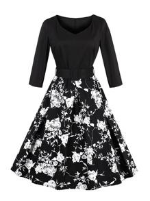 V-neckline Florals Combo Dress