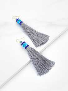 Beaded Top Tassel Drop Earrings