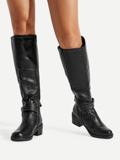 Buckle Side Knee High PU Boots