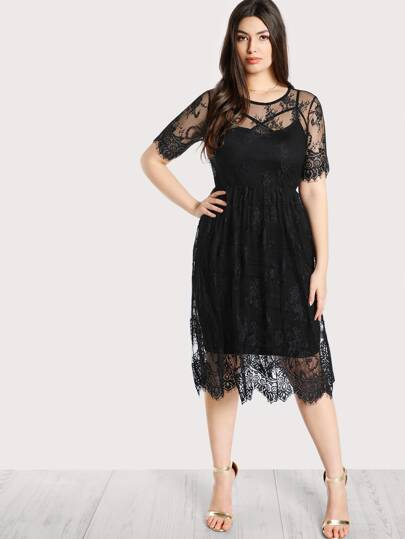 High Waist Floral Lace Cover Up Dress