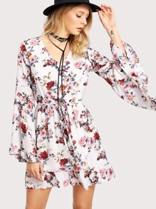 Bell Sleeve Drawstring Waist Calico Dress