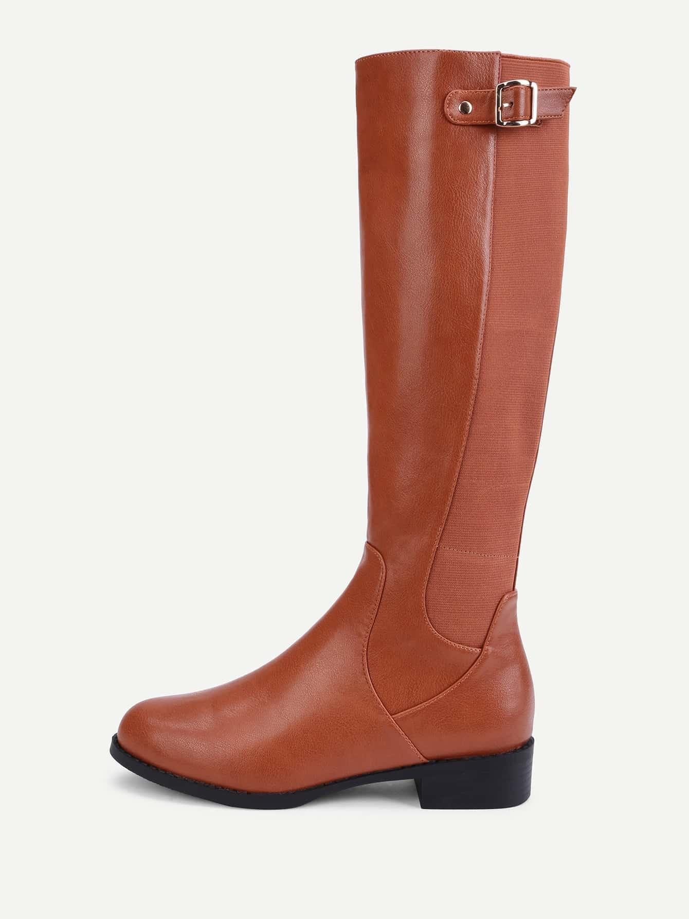 Side Zipper Knee High PU Boots
