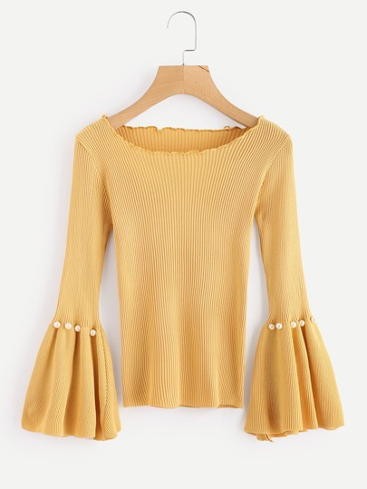 Boat Neck Fluted Sleeve Pearl Beaded Knit Sweater
