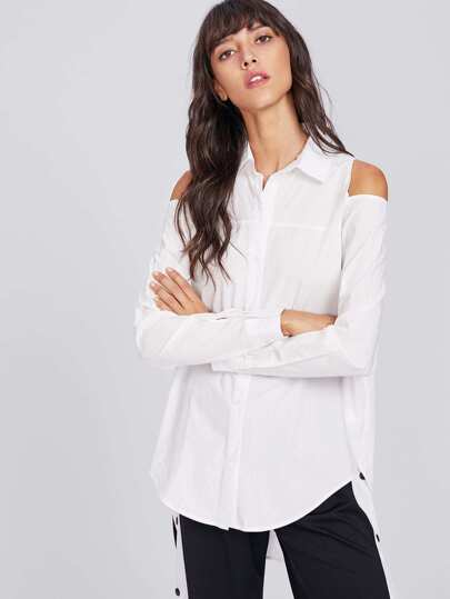 Open Shoulder High Low Shirt