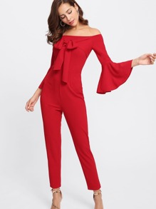 Bow Tied Front Trumpet Sleeve Tailored Jumpsuit