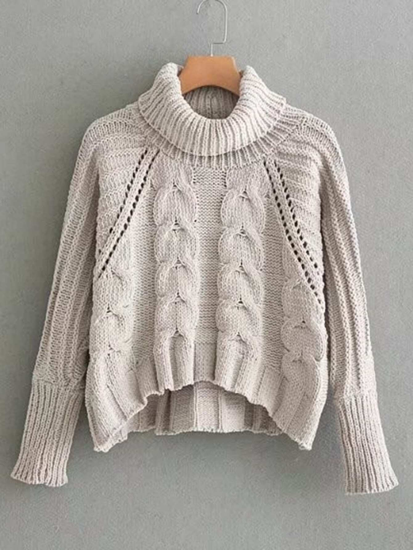 Pointelle Detail Turtleneck Cable Knit Sweater colorblock cable knit sweater