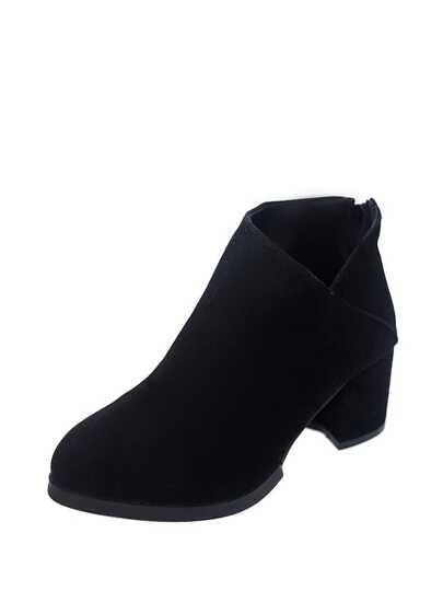 V Cut Block Heeled Ankle Boots