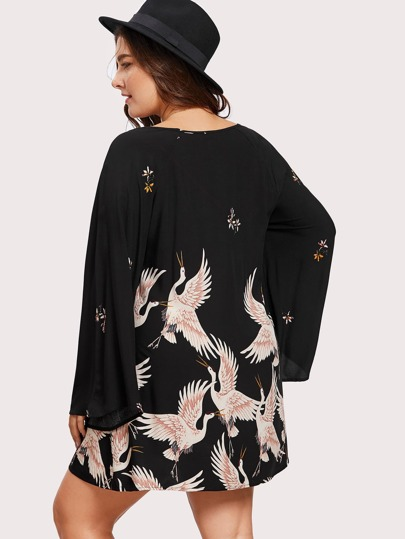 Plus Crane Bird Print Fluted Sleeve Dress