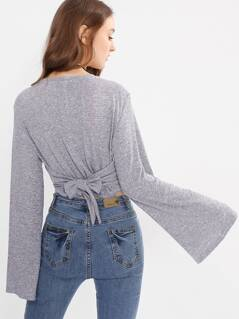 Bell Sleeve Tie Back Heather Knit Tee
