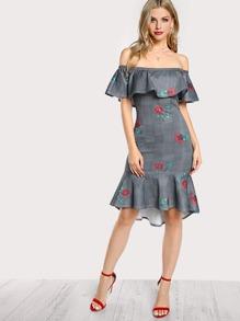 Floral And Plaid Flounce Bardot Dress