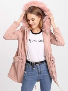 Fleece Hoodie Pearl Embellished Pocket Parka Coat