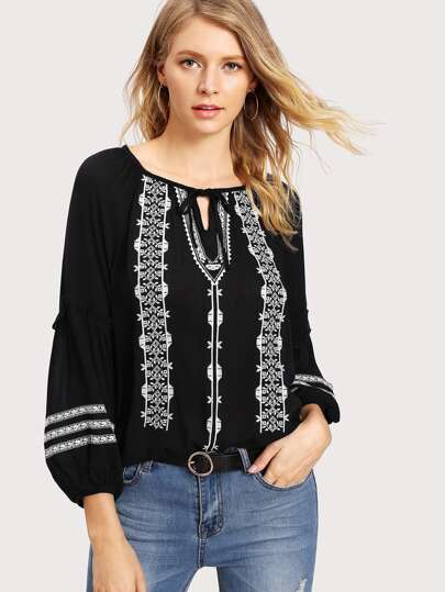 Geo Embroidered Frill Trim Blouse