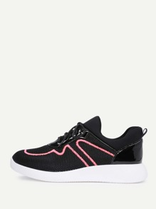 Embroidery Detail Lace Up Sneakers