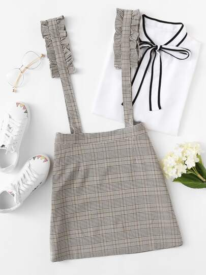 Frill Strap Plaid Pinafore Skirt