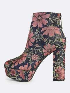 Floral Print Chunky Heel Platform Boots MAUVE NAVY