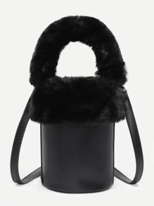 Faux Fur Decorated PU Bucket Bag
