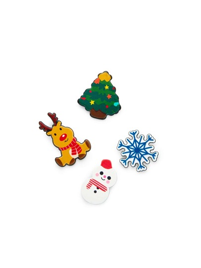 Christmas Tree & Snowman Design Brooch Set