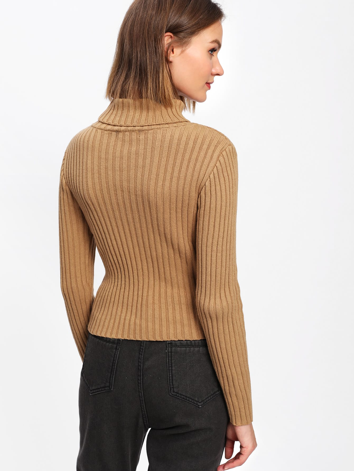 Rib Knit Turtleneck Sweater -SheIn(Sheinside)