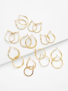 Mixed Pattern Design Hoop Earring Set 9pairs
