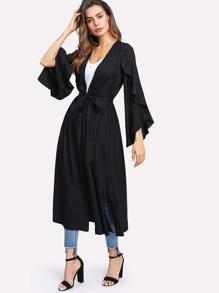 Ruffle Sleeve Side Slit Belted Coat