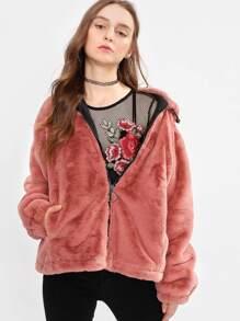 Zip Up Hooded Faux Fur Coat