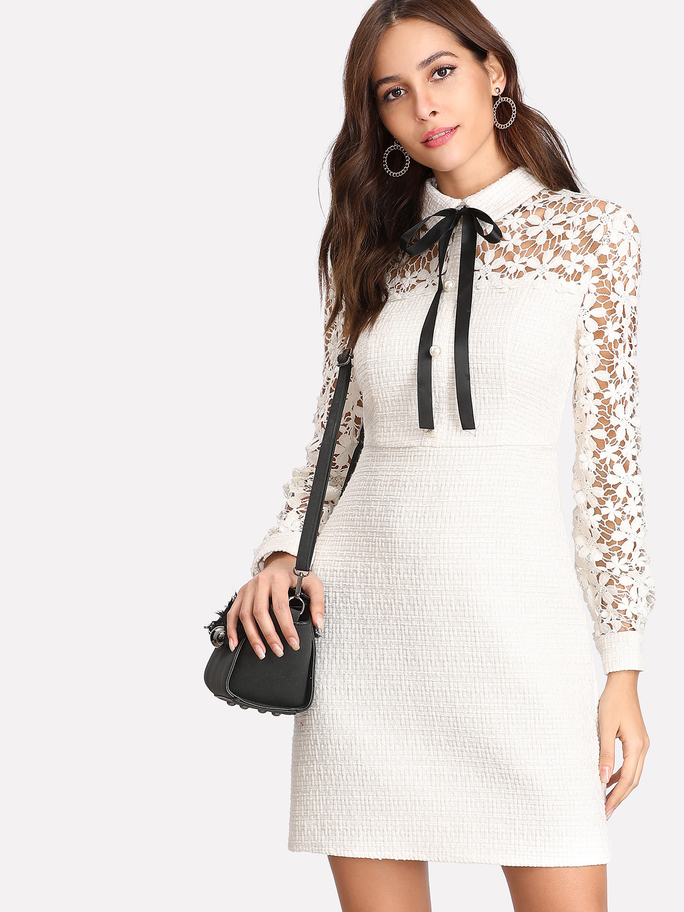 Daisy Lace Sleeve Tie Neck Tweed Dress contrast tie neck faux pocket tweed dress