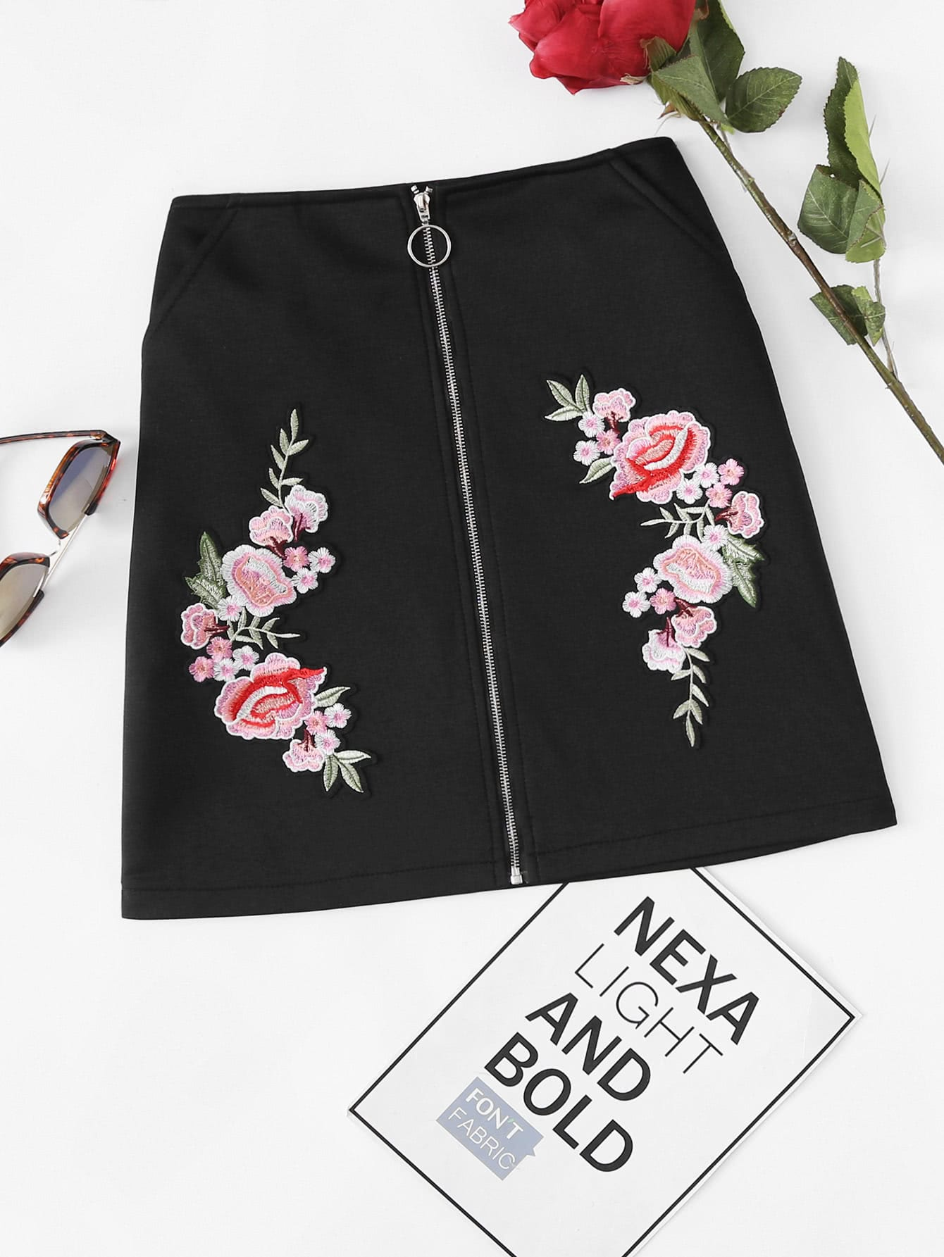 Floral Embroidered Patch Zip Up Front Skirt