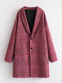 Shawl Collar Plaid Coat