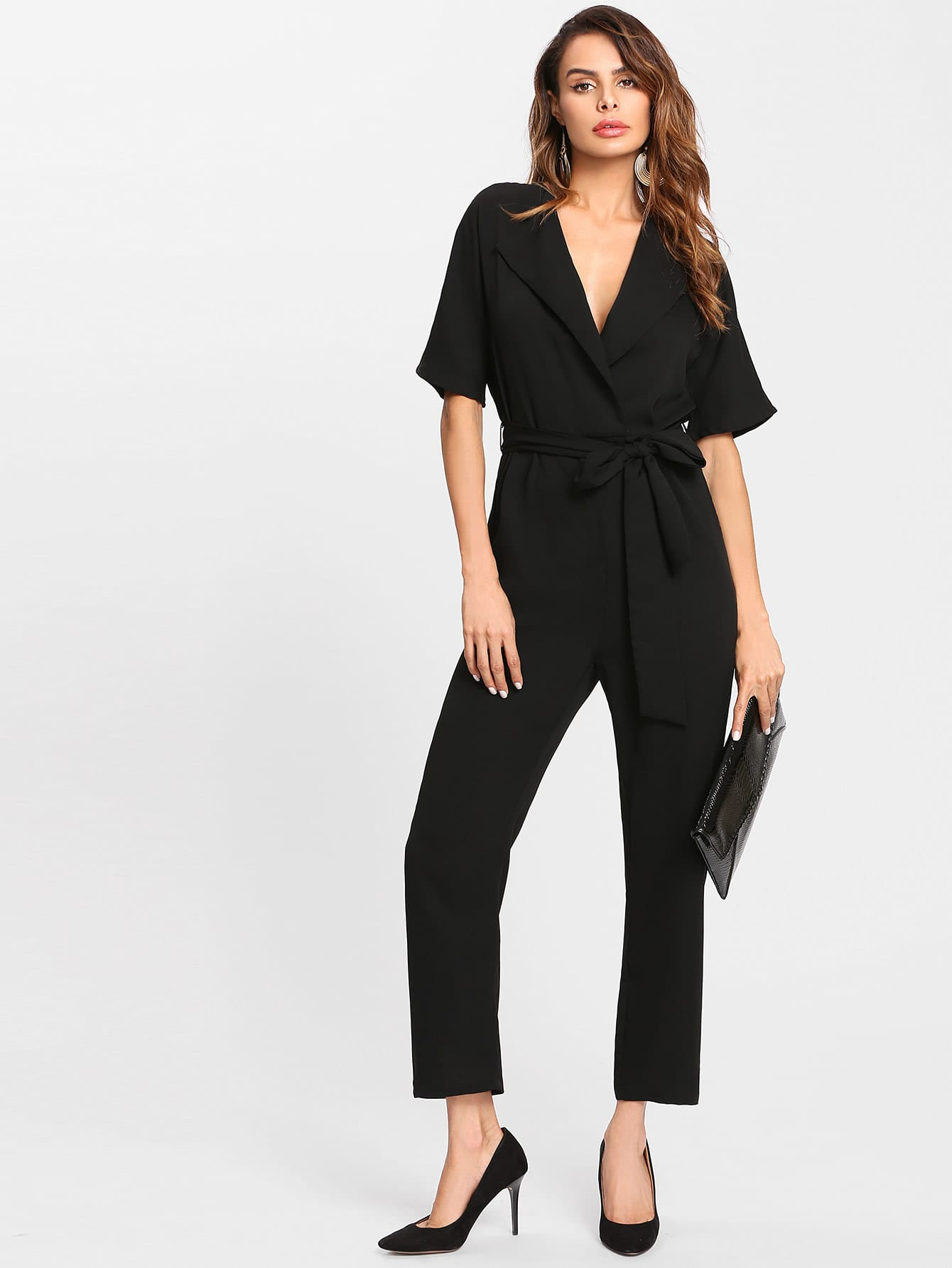 Notch Collar Self Belted Solid Jumpsuit self belted solid dress