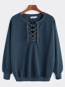Drop Shoulder Lace Up Sweatshirt