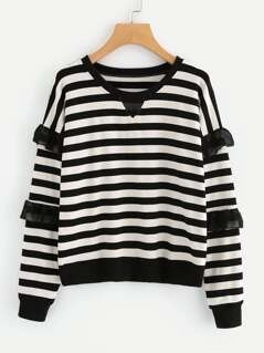 Frilled Mesh Embellished Striped Sweatshirt