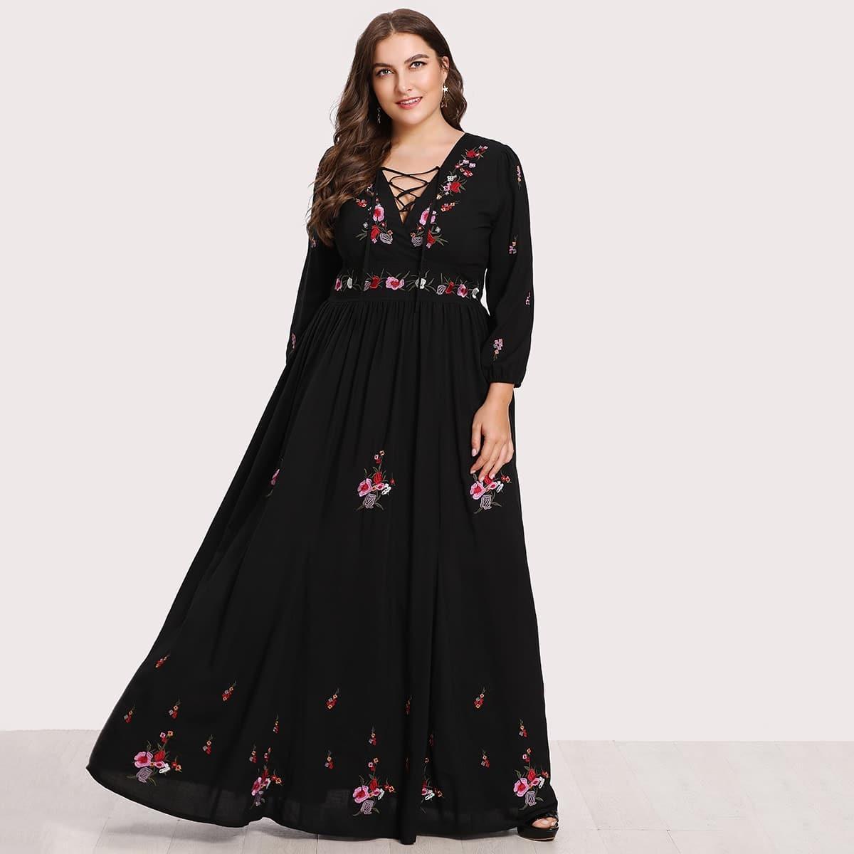 Maxi jurk met bloemenprint en lace-up
