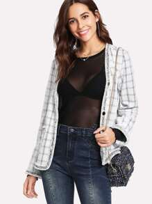 Frayed Tape Trim Grid Blazer