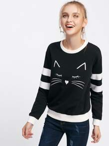 Cat Print Striped Sleeve Two Tone Pullover