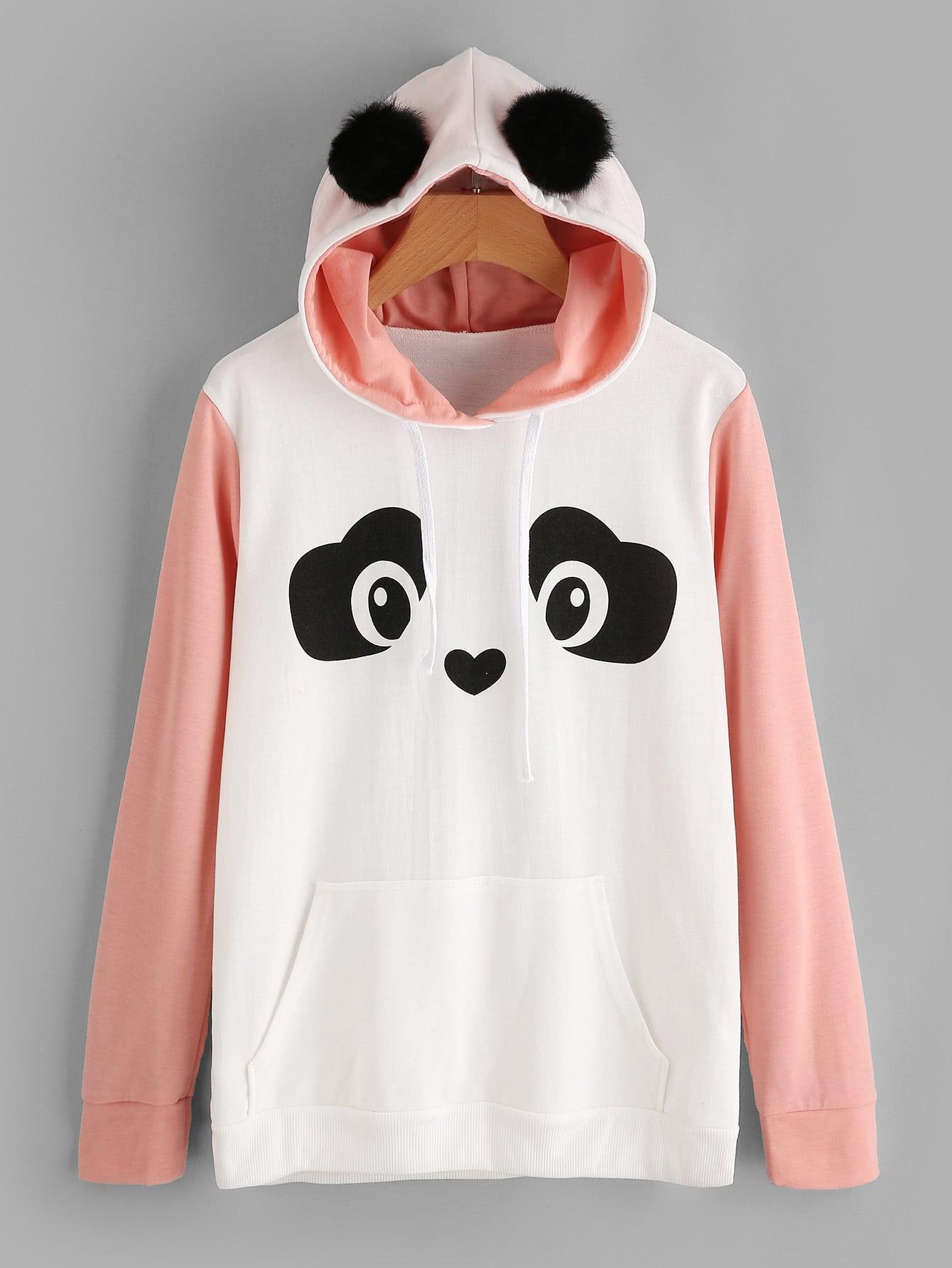 Manchon De Contraste Panda Capuche Avec De La Fausse Fourrure De La Balle