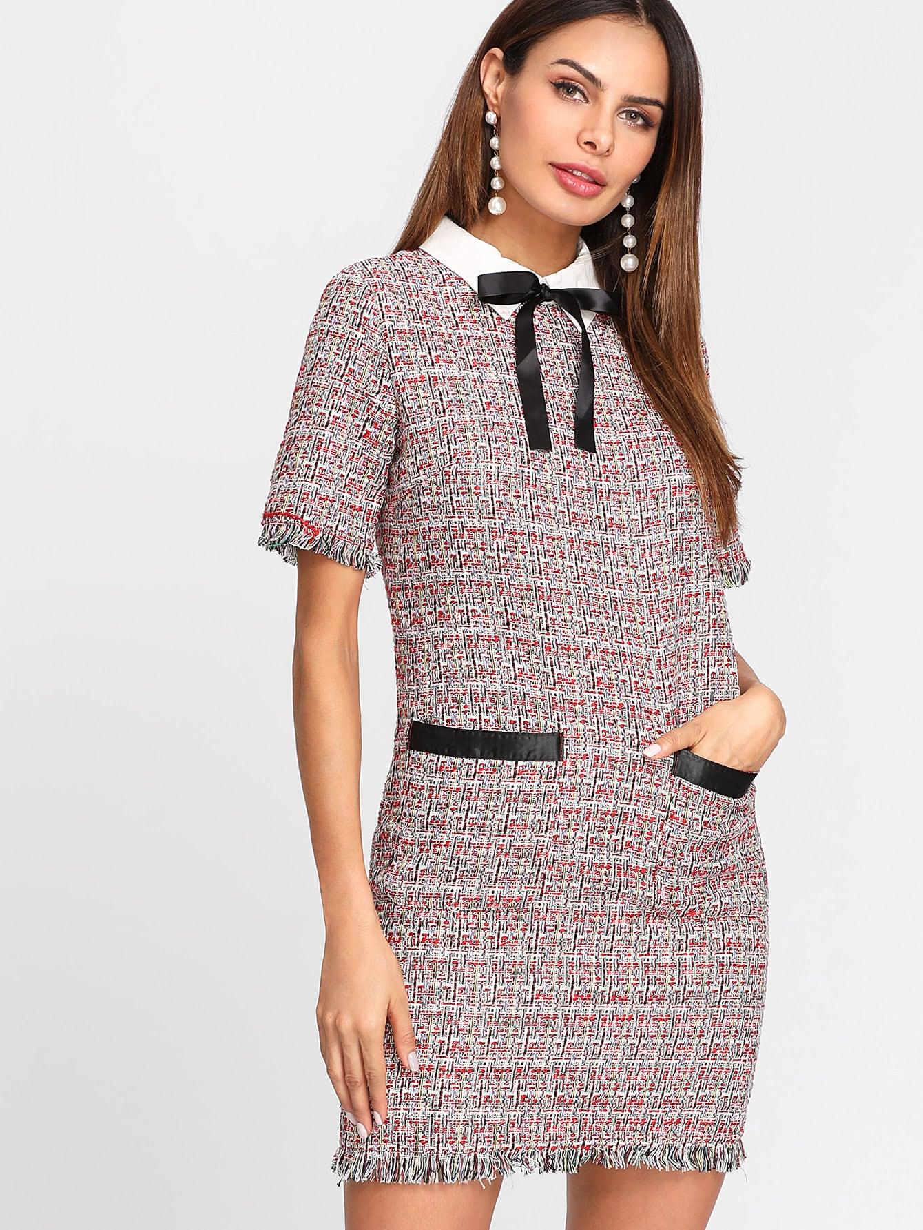 Contrast Bow Neck Fringe Trim Tweed Dress frayed trim open front tweed blazer