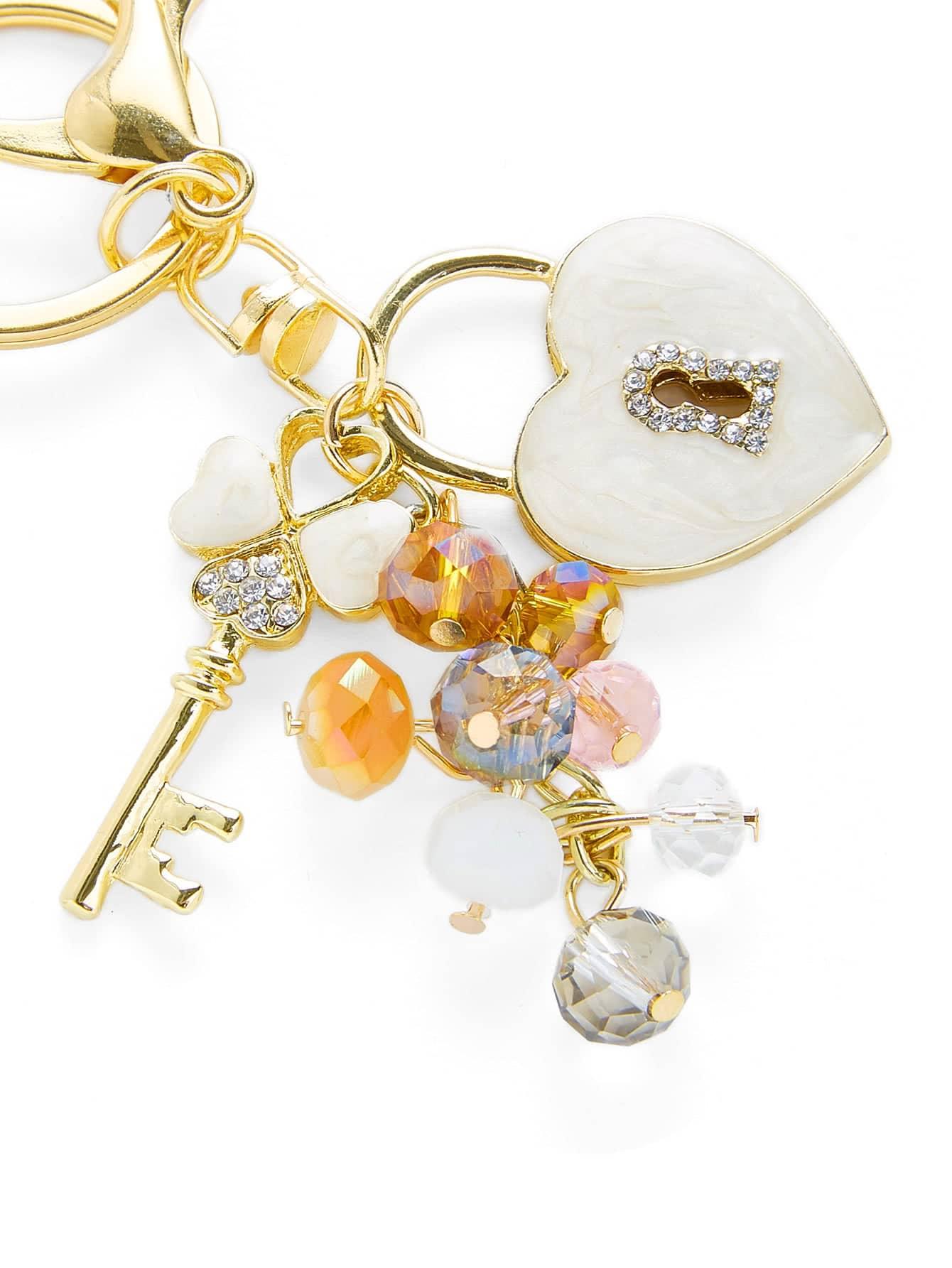 Heart & Key Design Keychain With Crystal