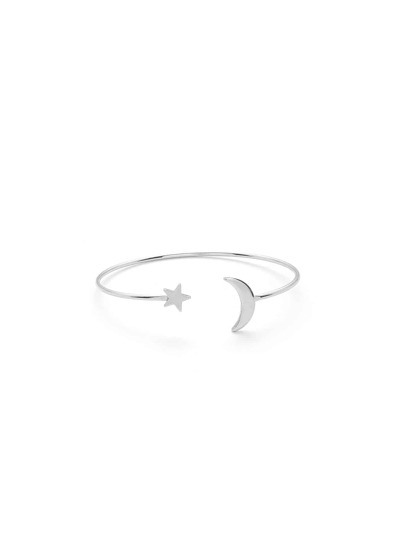 Moon & Star Design Cuff Bracelet