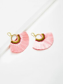 Fan Shaped Fringe Tassel Drop Earrings