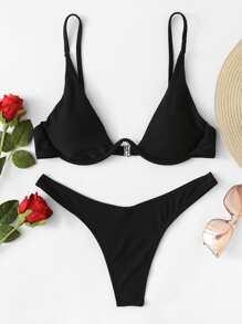 Plunging Underwired Top With High Cut Bikini