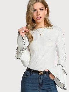 Ruffle Sleeve Contrast Piped Top IVORY