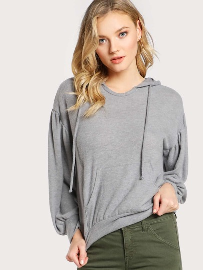 Fuzzy Soft Hooded Puff Sleeve Pleated Sweatshirt GREY