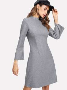 Stand Collar Wool Blend Dress