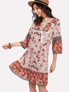 Tassel Tied Neck Drop Waist Dress