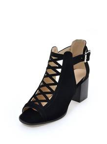 Peep Toe Criss Cross Block Heeled Sandals