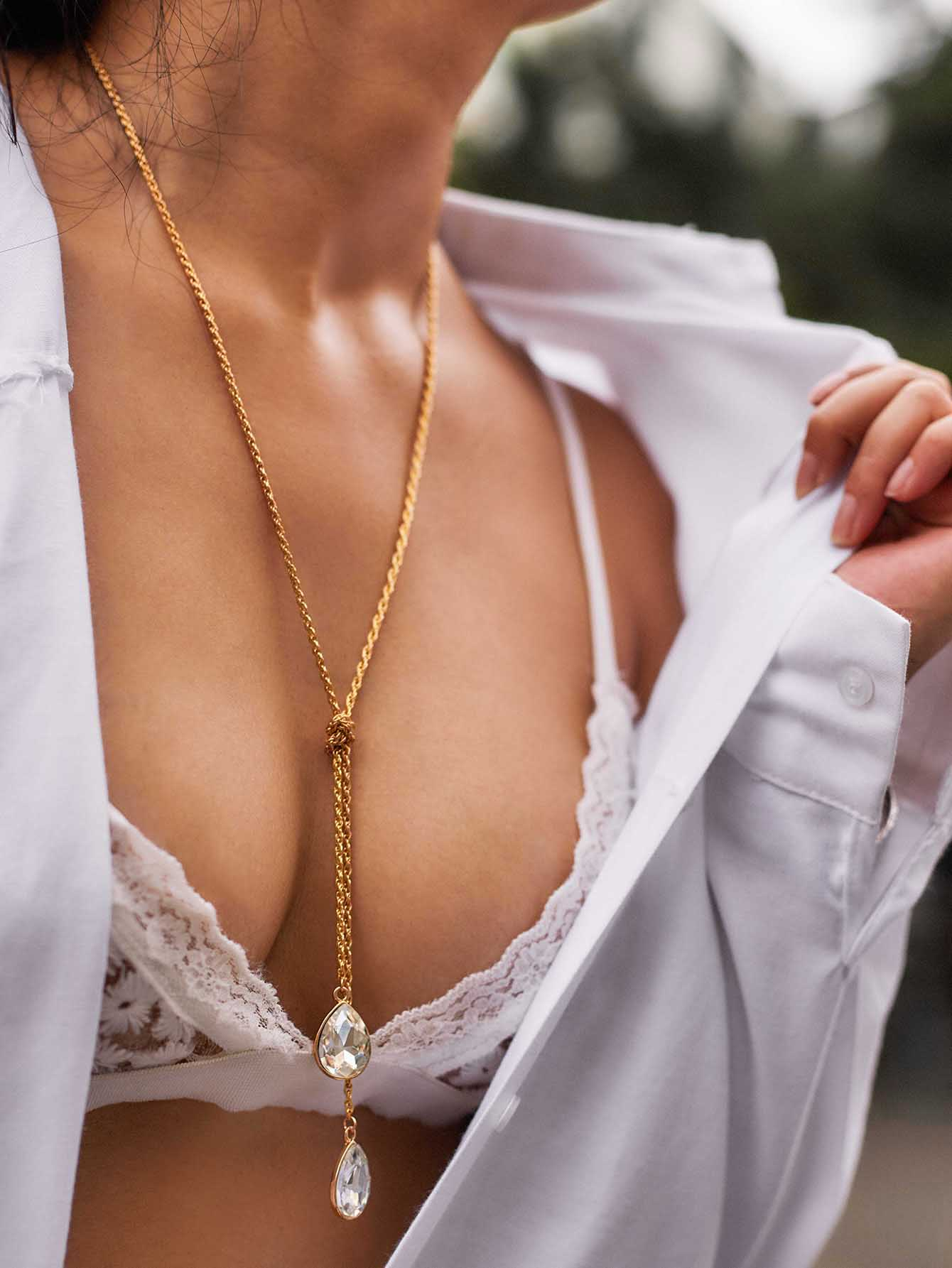 Water Drop Rhinestone Pendant Wrap Chain Necklace link chain rhinestone pendant necklace