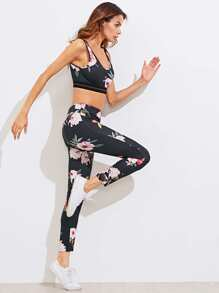 Floral Print Sports & Leggings Set